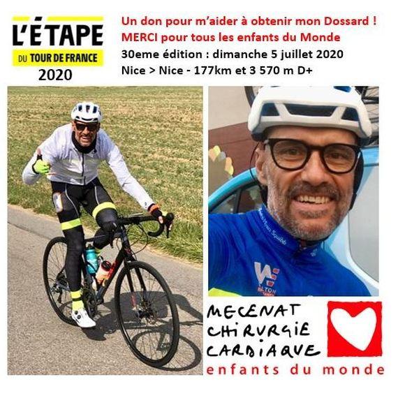 Un DON pour m'aider à obtenir mon dossard pour l'étape du Tour 2020 et soutenir avec moi le Mécénat de chirurgie Cardiaque  !